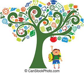 Zpátky do školy - strom s ikonami