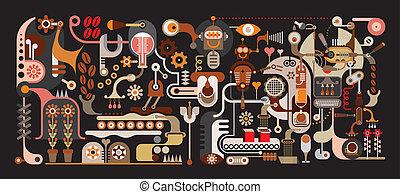 zrnková káva, továrna, ilustrace, vektor