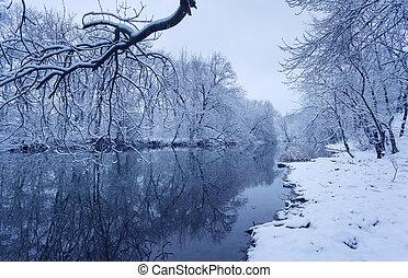 Zuří krajina s řekou v lese