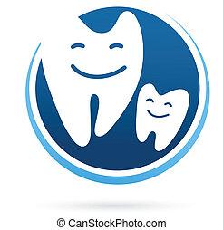 zubní, -, klinika, vektor, zuby, úsměv, ikona
