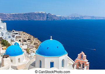 zvon, santorini, věž, ostrov, řečtina, kopule, kréta, moře, klasický, ostrov, názor, spinalonga, středozemský, greece., většina, slavný, církev, pravověrný